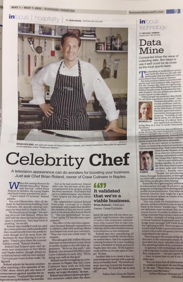 Crave Culinaire in the business observer